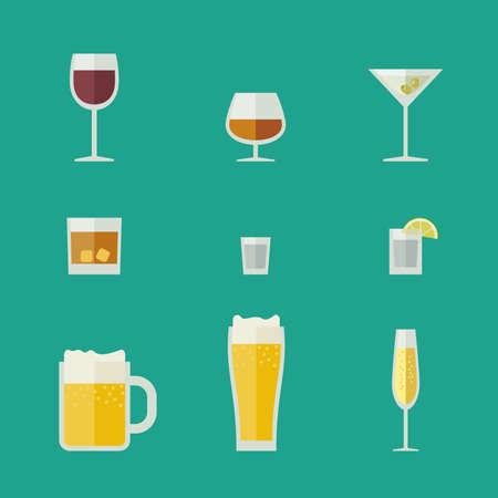 bebidas alcoh�licas: Tazas y vasos iconos de vidrios planos con bebidas alcoh�licas. Vectores