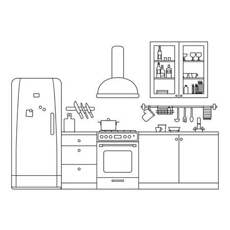 Kitchen line interior with furniture and equipment thin illustration.