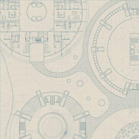 architectonische blauwdruk. Techniek technisch plan op grijze achtergrond Vector Illustratie