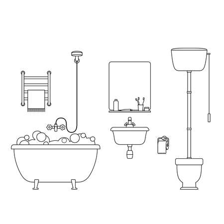 hygienic: Bathroom line interior. Thin illustration with toilet, sink and hygienic supplies.