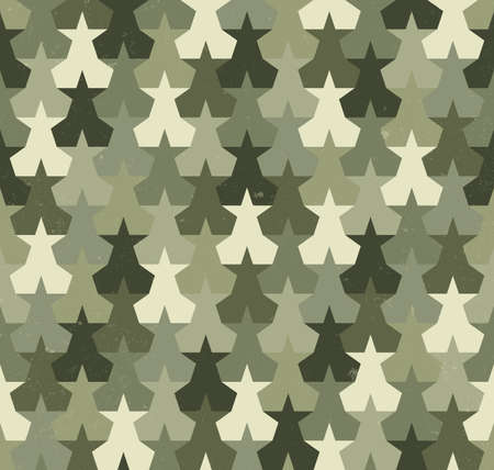 hideout: Camouflage seamless pattern with abstract stars shapes Illustration