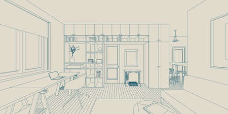 architecture: Line sketch of the interior living room