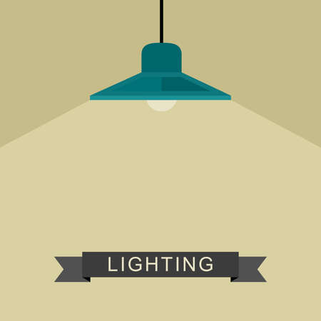Pendant lamp light in flat style. Vector illustration of lighting. Vectores