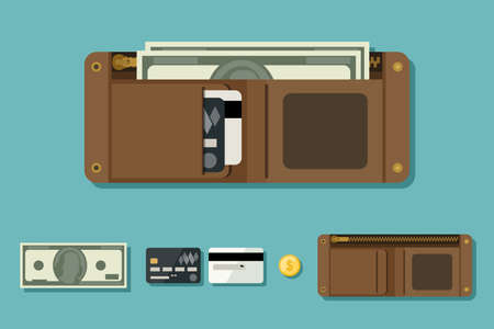 billfold: Wallet open with money in flat style. Icons of coin, wallet, credit cards. Illustration