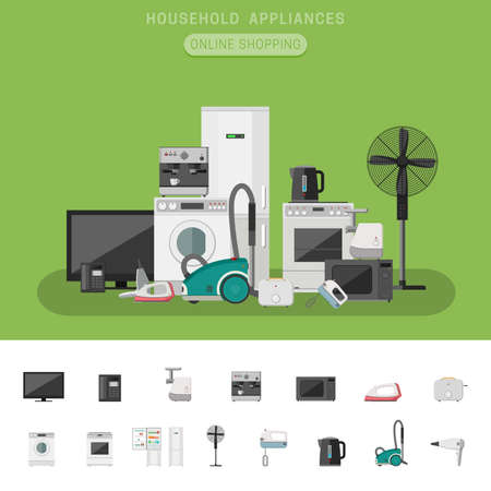 electronic: Electronics banner with icons microwave, coffee machine, washing machine, etc. Household appliances vector flat icons.