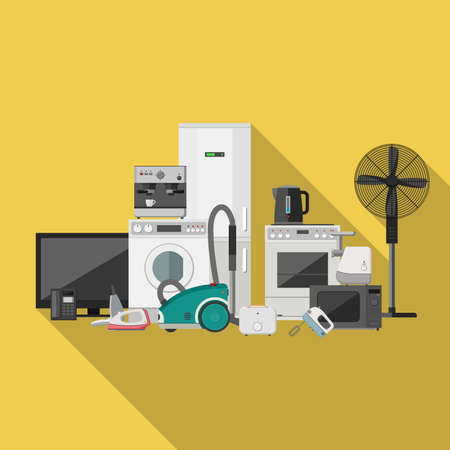 iron fan: Household appliances flat banner with long shadow. Illustration