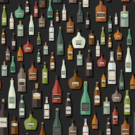 bebidas alcohÓlicas: Botellas sin patrón. Conjunto del vector con las botellas de bebidas alcohólicas.