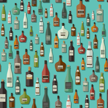 alcoholic beverages: Seamless vector pattern with bottles of alcoholic beverages.
