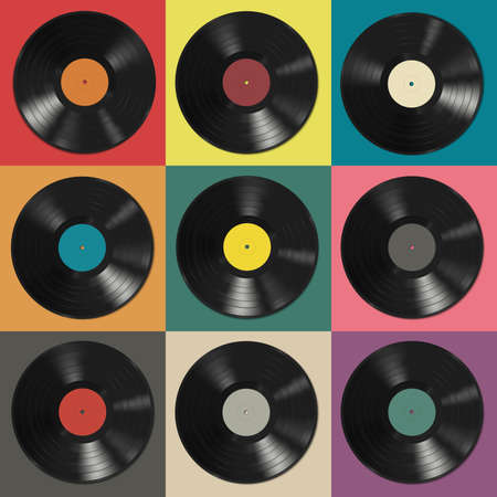 Vinyl records with colorful labels on colorful background.