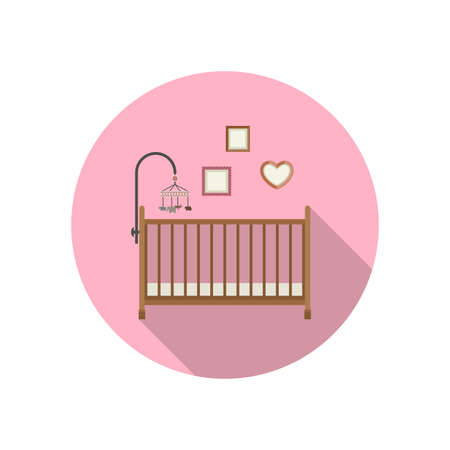 circle icon: Baby crib icon on pink background. Vector flat illustration of crib