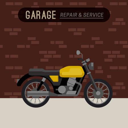 Garage mit Motorrad in flachen Stil. Klassische Retro-Fahrrad.
