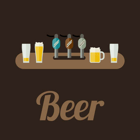 draft beer: Bar Restaurant counter with beer in flat style. Vector banner of beer. Illustration
