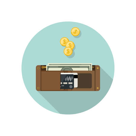 full: Wallet with money in flat style. Purse vector simple illustration. Brown wallet icon. Illustration