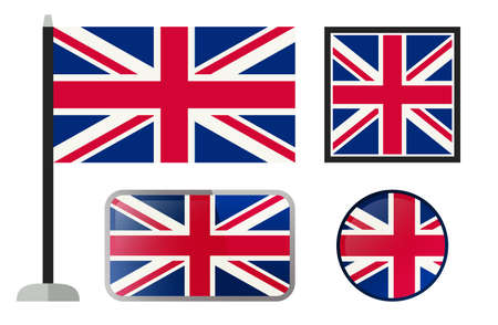 london england: British flags. Simple vector icons set of England flags.