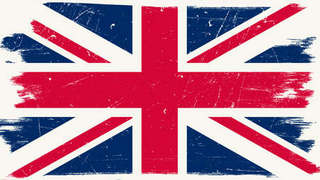 Great Britain flag with grunge texture.Vector British flag. Illustration