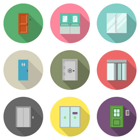lift lock: Doors for different purposes in flat style. Door icons with long shadow.