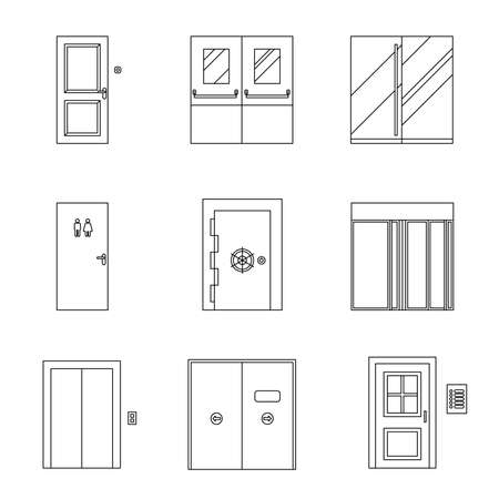 lift lock: Doors for different purposes line icons. Vector thin illustrations of doors. Illustration