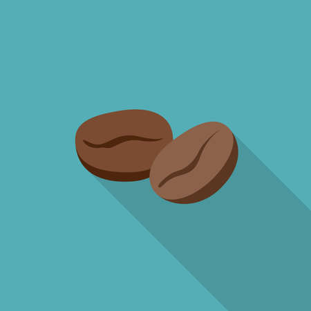 coffee beans: Coffee beans flat icon. Simple illustration of coffee beans with long shadow