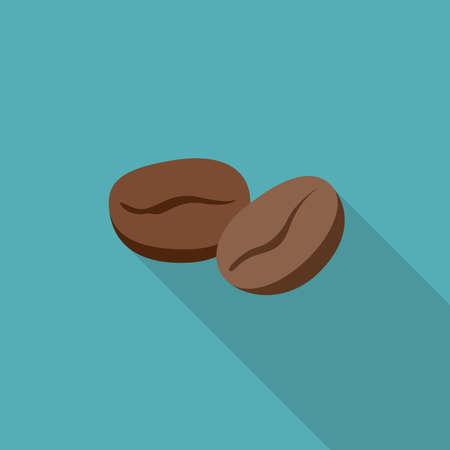 chicchi di caff?: I chicchi di caffè icona piatta. Semplice illustrazione di chicchi di caffè con una lunga ombra Vettoriali