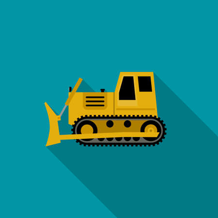 dozer: Dover simple illustration flat style. icon of building machinery with long shadow.