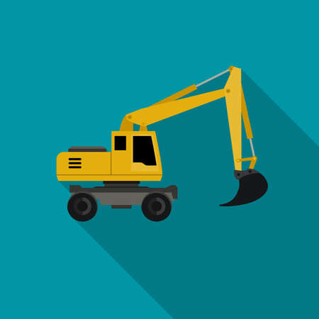 Excavator flat icon with long shadow. icon of building machinery. Illustration