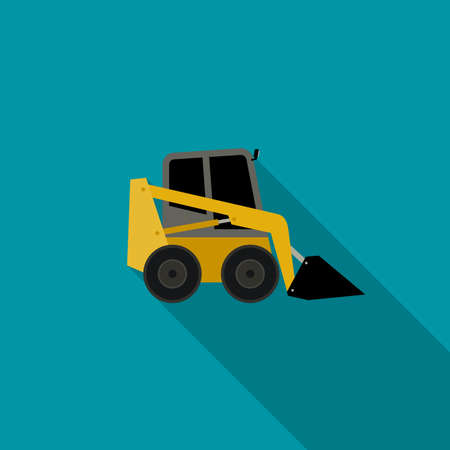 industrial vehicle: Loader icon in flat style. icon of building machinery with long shadow.