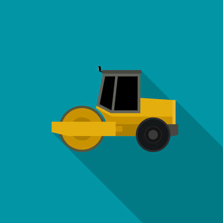 compactor: Asphalt compactor in flat style. icon of road roller compactor.