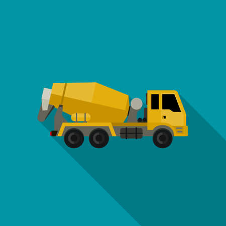 concrete construction: Concrete mixer truck in flat style. icon of building machinery.