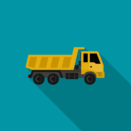 heavy vehicle: Construction truck in flat style. icons of building machinery. Illustration