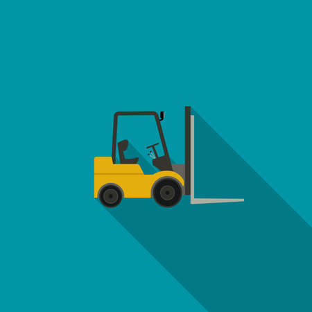 Forklift truck icon. icon of building machinery with long shadow.