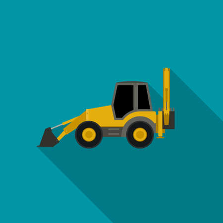 Tractor icon in flat style with long shadow.