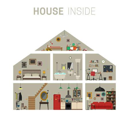 Casa in infografica taglio con mobili. casa piatto con set di camere di base. Archivio Fotografico - 62198841