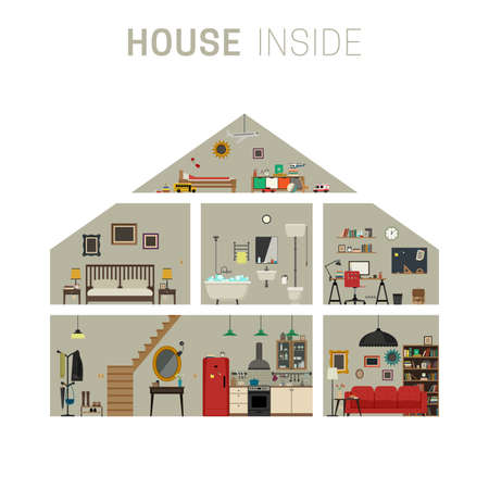 House in cut infographics with furniture.  flat house with set of basic rooms. Иллюстрация