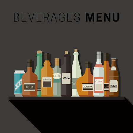 bebidas alcoh�licas: Drinks menu with bottles icons of alcoholic beverages. flat illustration.