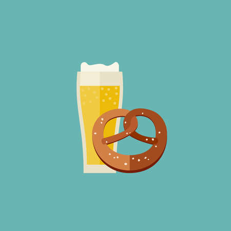 snack bar: Beer and pretzel icon in flat style. Mug of beer  icon. Illustration