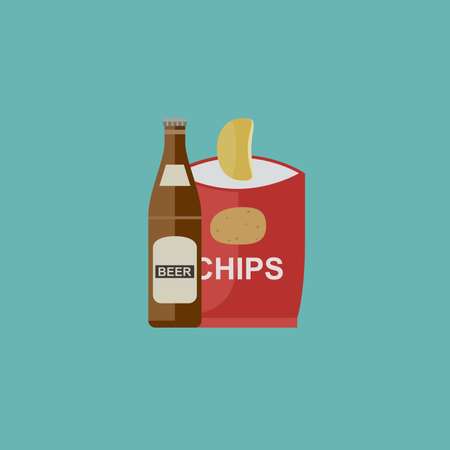Beer and chips icon in flat style. illustration