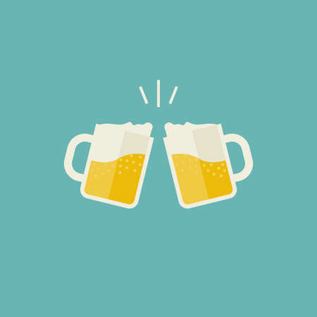 clink: Clink mugs with beer icons. Glasses with alcoholic beverage in flat style.