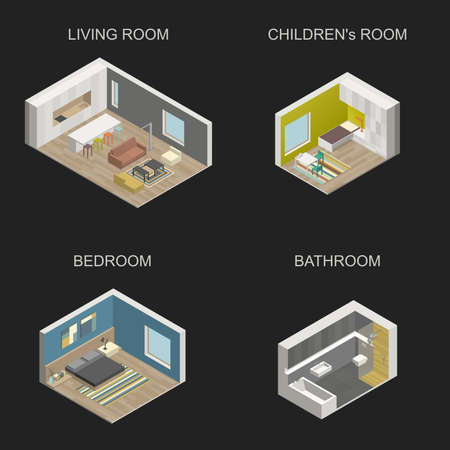 cutaway drawing: Set of vector isometric rooms on black background. Set consists of living room, bedroom, childrens room and bathroom. Illustration