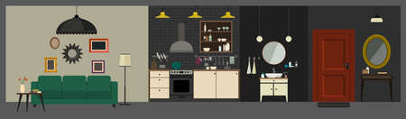 kitchen studio: Apartment interior with furniture in flat style. Vector interior with hall, bathroom, kitchen and living room. Illustration