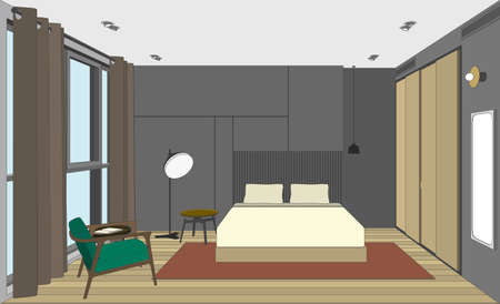 bedroom bed: Bedroom perspective view. Vector color interior of the room with bed