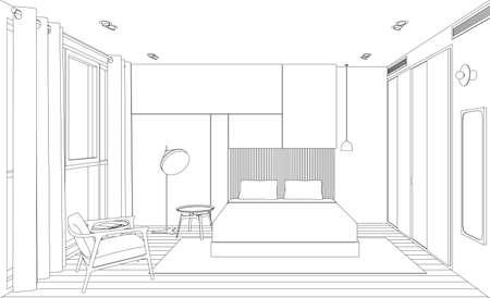 Line schets van het interieur slaapkamer. Perspectief schets weergave van kamer met bed.