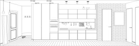 perspective room: Line sketch drawing of the interior kitchen. Vector perspective illustration. Illustration