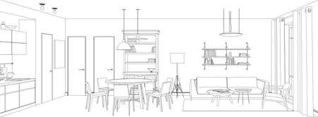 Line sketch of the interior living room.