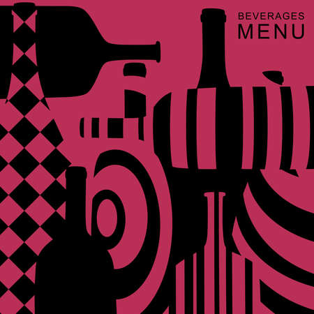 alcoholic: Alcoholic beverages menu. Vector background with abstract bottles.