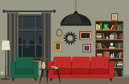 red couch: Living room interior with furniture. Vector banner of living room in flat style.