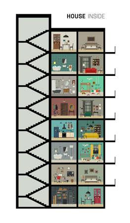 내부 내부 하우스. 기본 객실의 세트 벡터 평면 집. 가구 컷 고층 집.