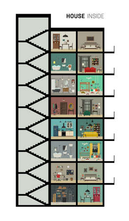 House inside interior. Vector flat house with set of basic rooms. High-rise house in cut with furniture.
