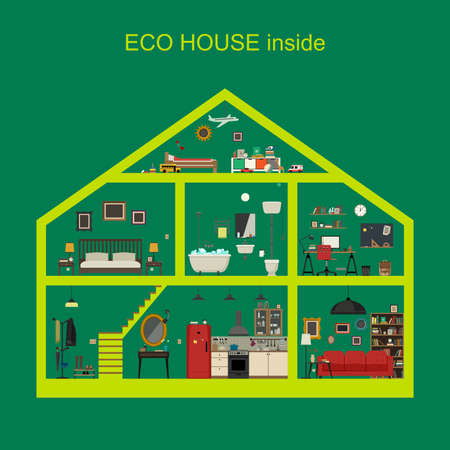 ecological: Ecological house inside interior. Vector flat house with set of basic rooms. House in cut with furniture. Illustration