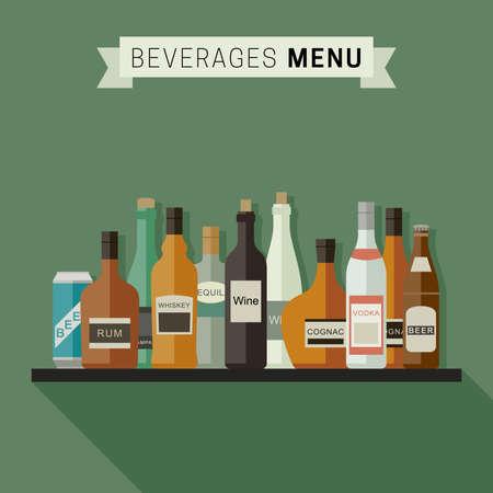liqueur labels: Drinks menu with bottles of alcoholic beverages on shelf. Vector flat illustration.