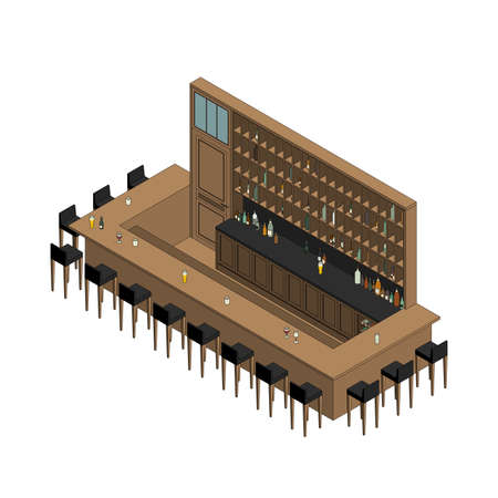 Isometric interior of  bar restaurant. Pub interior with bar table, stools and shelves with alcohol.